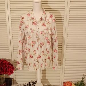 Old Navy white and pink floral button down shirt.